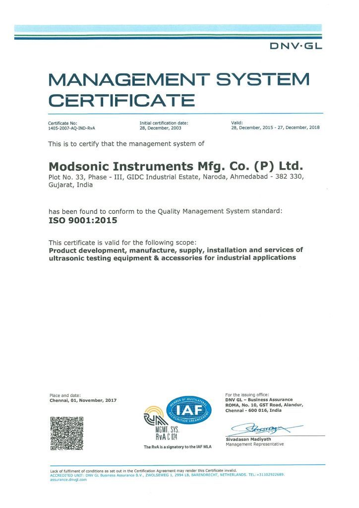 Iso Certification Modsonic Modsonic Instruments Manufacturing